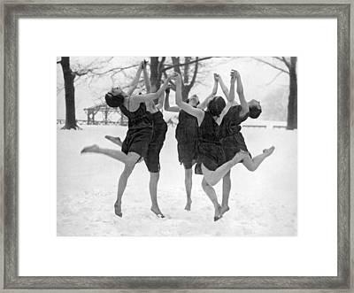 Barefoot Dance In The Snow Framed Print