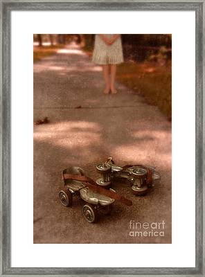 Barefoot Girl On Sidewalk With Roller Skates Framed Print by Jill Battaglia