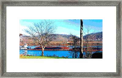 Barge On Ohio River At Flood Stage Framed Print by Padre Art