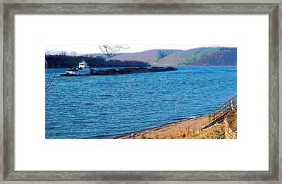 Barge Passing Manchester Framed Print by Padre Art