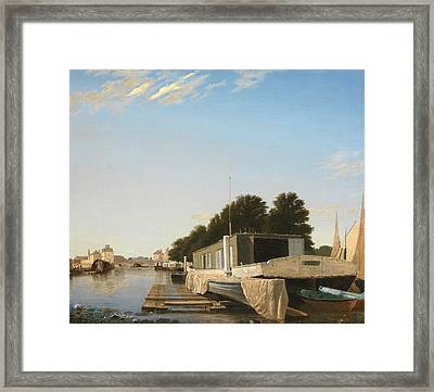 Barges At A Mooring Framed Print by Unknown