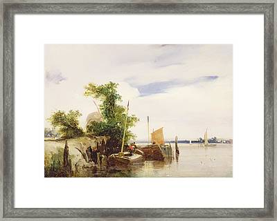 Barges On A River Framed Print by Richard Parkes Bonington