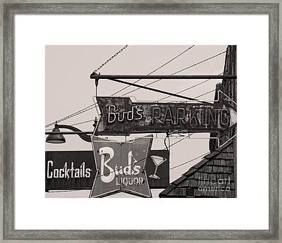 Framed Print featuring the photograph Barhopping At Buds 1 by Lee Craig