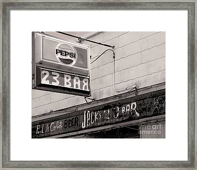 Framed Print featuring the photograph Barhopping At Jacks 1 by Lee Craig