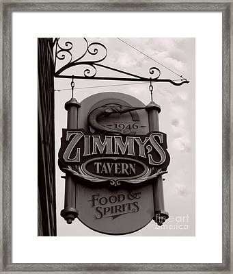 Framed Print featuring the photograph Barhopping At Zimmys 1 by Lee Craig