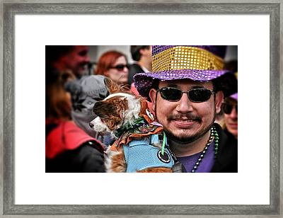 Framed Print featuring the photograph Barkus Mardi Gras Parade by Jim Albritton