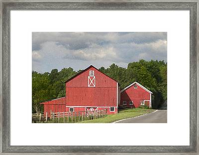 Barn Along The Way Framed Print