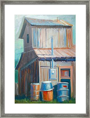 Barn And Barrels Framed Print by Virginia White