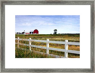Barn And Fence Framed Print by Cheryl Cencich