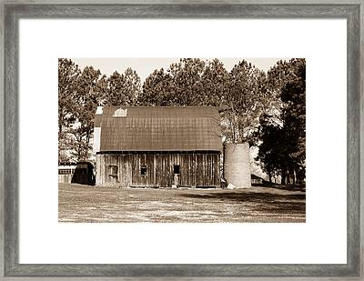 Barn And Silo 1 Framed Print by Douglas Barnett