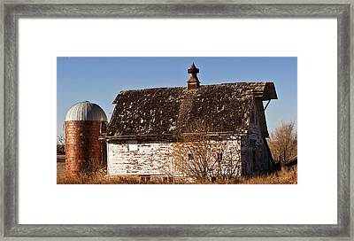 Barn And Silo Framed Print by Edward Peterson