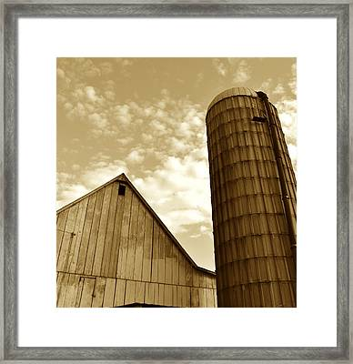 Barn And Silo In Sepia Framed Print