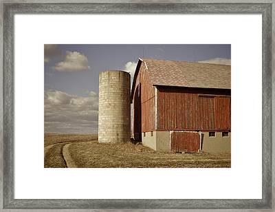 Barn And Silo Framed Print by Odd Jeppesen