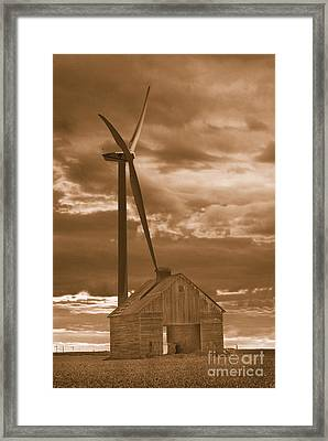 Barn And Windmill 2 Framed Print by Jim Wright