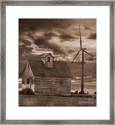 Barn And Windmill Framed Print by Jim Wright