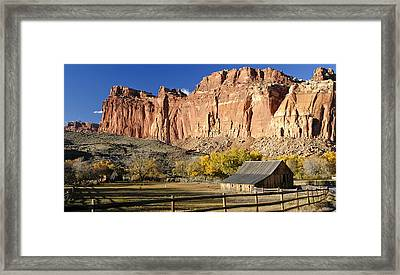 Framed Print featuring the photograph Barn At Capital Reef by Geraldine Alexander