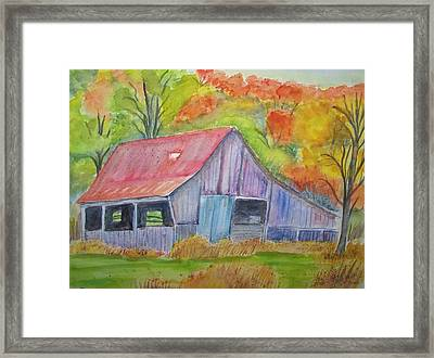 Barn At Round Bottom Framed Print by Belinda Lawson