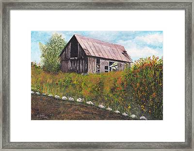 Framed Print featuring the painting barn Grahamsville NY by Stuart B Yaeger