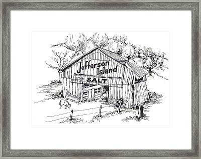 Barn In Midwest - Jefferson Island Salt Framed Print