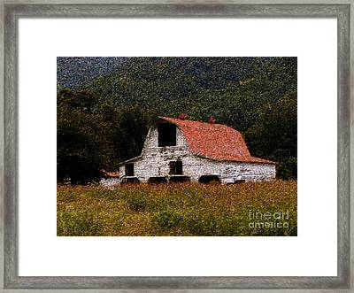 Framed Print featuring the photograph Barn In Mountains by Lydia Holly