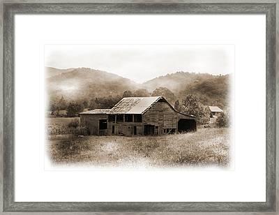 Barn In The Mist Framed Print by Barry Jones