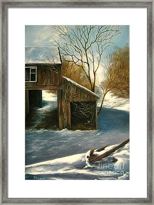 Barn In The Snow Framed Print by Patricia Lang
