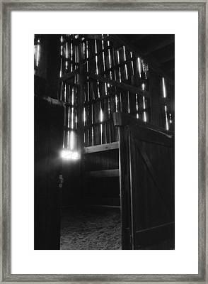 Barn Interior True Bw Framed Print by Katherine Huck Fernie Howard