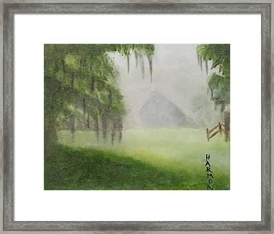 Framed Print featuring the painting Barn On Foggy Morning by Margaret Harmon