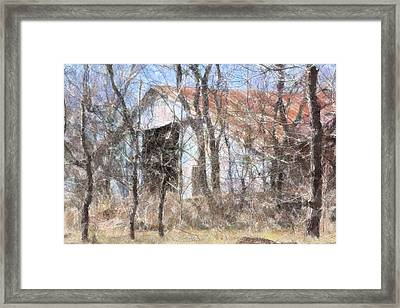 Barn Through Trees Framed Print by Donna G Smith