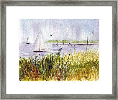 Framed Print featuring the painting Barnegat Sails by Clara Sue Beym