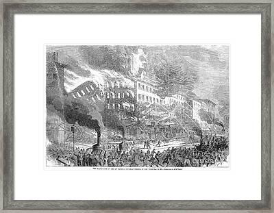 Barnums Museum Fire, 1865 Framed Print by Granger