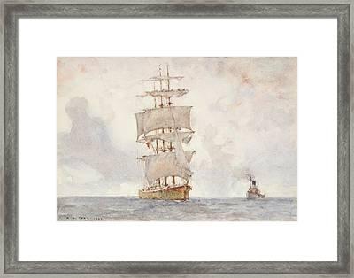 Barque And Tug Framed Print by Henry Scott Tuke