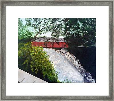 Barrackville Covered Bridge Framed Print by Carol Van Sickle