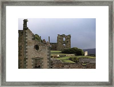 Barred Windows And Stone Ruins At Port Framed Print by Jason Edwards