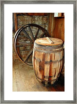 Barrel And Wheel Framed Print by Marty Koch