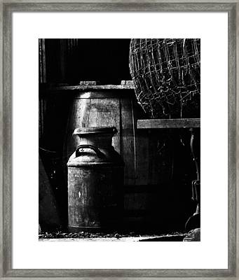 Barrel In The Barn Framed Print by Jim Finch