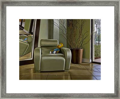 Bart On Chair W Mirror Framed Print