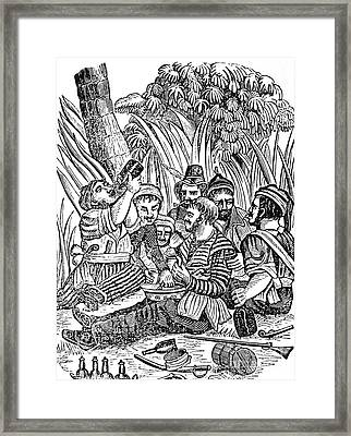 Bartholmew Roberts And Crew Drinking Framed Print by Photo Researchers