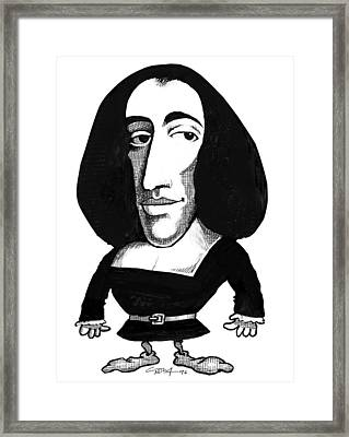 Baruch Spinoza, Caricature Framed Print by Gary Brown