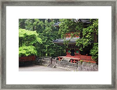 Base Floor Of An Asian Pagoda Framed Print by Jeremy Woodhouse