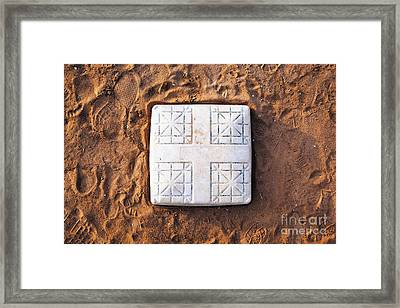 Base On Baseball Field Framed Print by Skip Nall