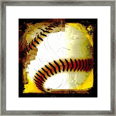 Baseball Abstract Framed Print by David G Paul
