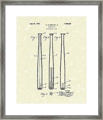 Baseball Bat 1924 Patent Art Framed Print by Prior Art Design