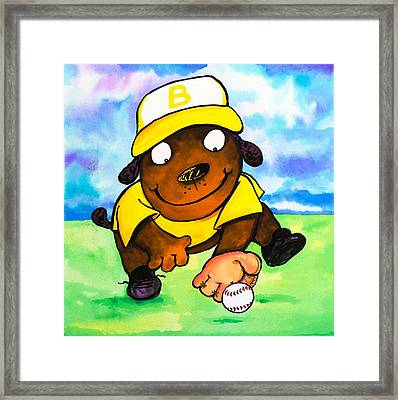 Baseball Dog 3 Framed Print by Scott Nelson