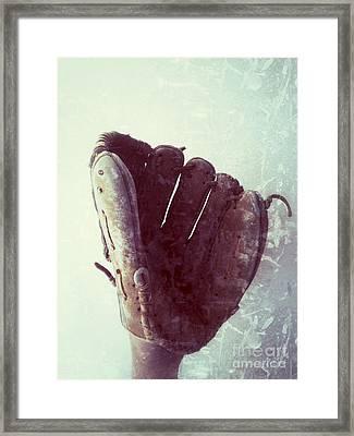 Baseball Glove Vertical Framed Print by Ruby Hummersmith