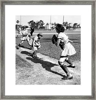 Baseball, Kenosha Comets Play Framed Print by Everett