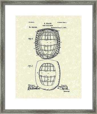 Baseball Mask 1887 Patent Art Framed Print