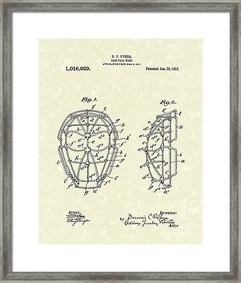 Baseball Mask 1912 Patent Art Framed Print