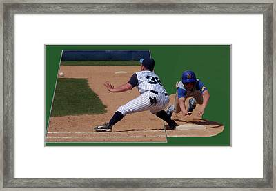 Baseball Pick Off Attempt 02 Framed Print by Thomas Woolworth