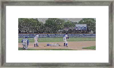 Baseball Playing Hard Digital Art Framed Print by Thomas Woolworth